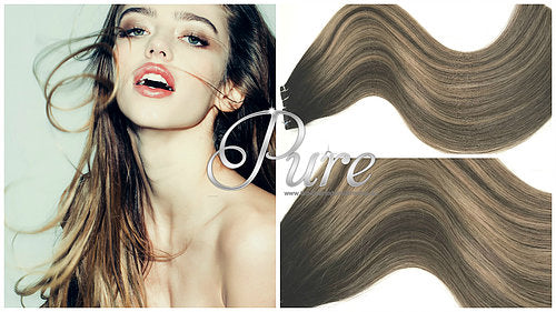 "#1B/10/1B #1B/6/2 ""BROWN SUGAR SWIRL"" DARK BROWN ROOTS TO LIGHT BROWN BALAYAGE TAPE HAIR EXTENSIONS - Pure Tape Hair Extensions"