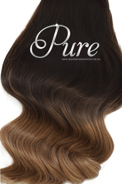 "#1b / 6 - ULTIMATE CLIP-IN HAIR EXTENSIONS - Dark Brown To Light Brown 22"" - Pure Tape Hair Extensions"