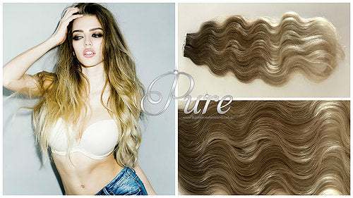 "#4/10/22 Wavy Ombre / Balayage Luxury Russian Grade Tape Hair Extensions 22"" - Pure Tape Hair Extensions"