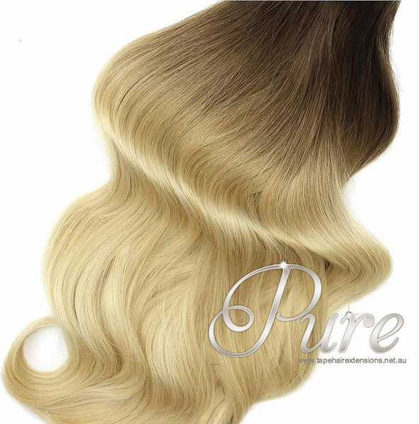#2/22 ULTIMATE CLIP IN BALAYAGE HAIR EXTENSIONS - Brown to Medium Blonde / Long - Pure Tape Hair Extensions