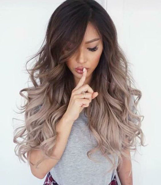#2/Dark Ash - Dark Brown Root To Ashy End / long Root Stretch / Balayage / Ombre - Pure Tape Hair Extensions