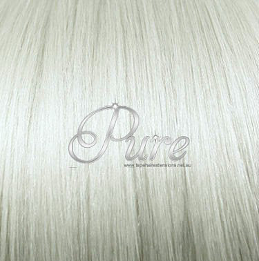 #60a - ICY BLONDE  - WHITEST BLONDE -HUMAN HAIR PONYTAIL HAIR EXTENSION - Pure Tape Hair Extensions