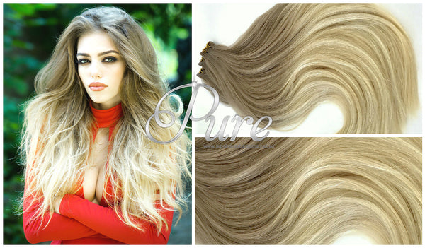 #10/22 Dark Ash Blonde To Light Medium Blonde Balayage /Ombre Luxury Russian - Pure Tape Hair Extensions