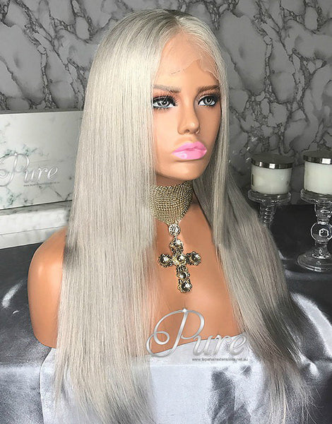 "Lace Wig - Silver Blonde - 150% Density -16"" - Pure Tape Hair Extensions"