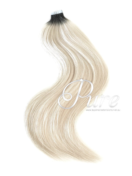 BLACK ROOT STRETCH TO BLONDE BALAYAGE TAPE HAIR EXTENSIONS