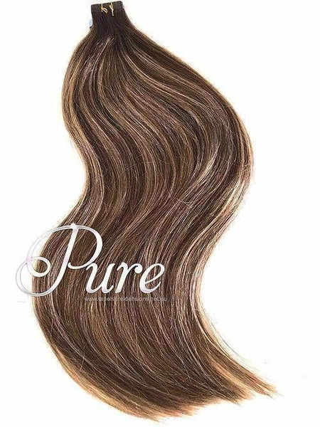 "#2/6/14  - Short Root Stretch Ombre  - Dark Brown Roots To Light Brown & Caramel Blonde Foils  - Short Root Fade Balayage / Ombre Tape 22"" - Pure Tape Hair Extensions"