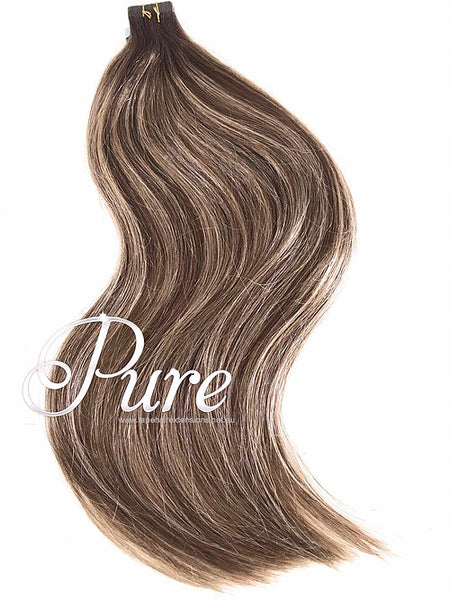 2/6 Dark Brown Roots To Light Brown - Short Root Fade Balayage / Ombre Tape - Pure Tape Hair Extensions