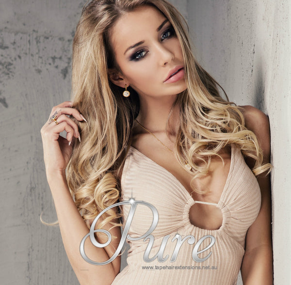 NAIL TIP / KERATIN HAIR EXTENSIONS #16 - CARAMEL BLONDE  - WHEAT BLONDE - Pure Tape Hair Extensions