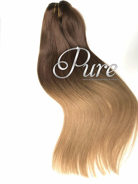 #2/14 BROWN TO CARAMEL BLONDE BALAYAGE HAIR EXTENSIONS - Pure Tape Hair Extensions