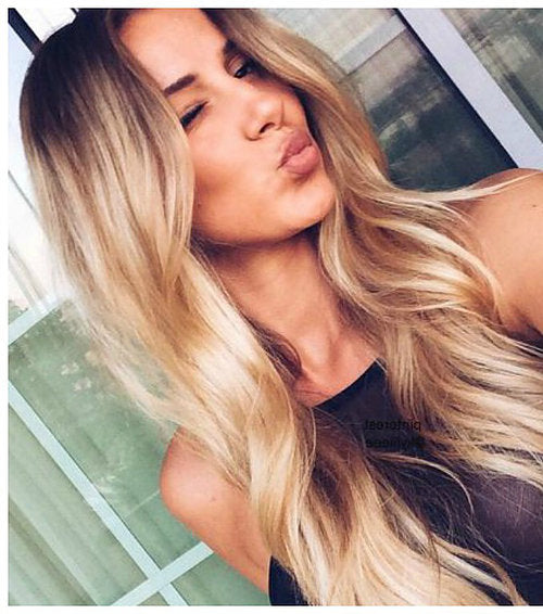 "1b/16 Darkest Brown To Caramel Blonde - Short Root Fade Balayage /Ombre 22"" Tape - Pure Tape Hair Extensions"
