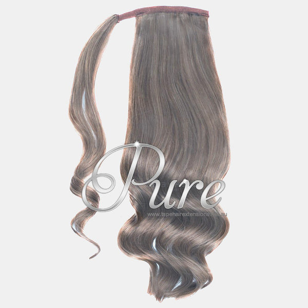 WRAP PONYTAIL HAIR EXTENSION #18 -  SMOKY BLONDE - DARK ASH BLONDE - Pure Tape Hair Extensions