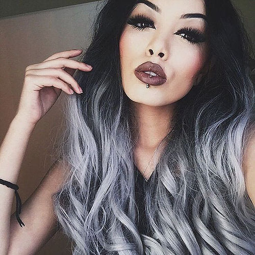 1b/Grey Tape Hair Extensions - Natural Black To Grey Balayage  Ombre - Pure Tape Hair Extensions