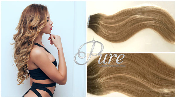 "#1B/12 ""CARIBBEAN"" SHORT ROOT FADE DARKEST BROWN ROOTS TO CARAMEL BLONDE BALAYAGE / OMBRE TAPE HAIR EXTENSIONS - Pure Tape Hair Extensions"