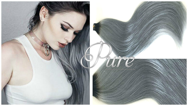 DARK BROWN TO GREY BALAYAGE ROOT STRETCH HAIR EXTENSIONS