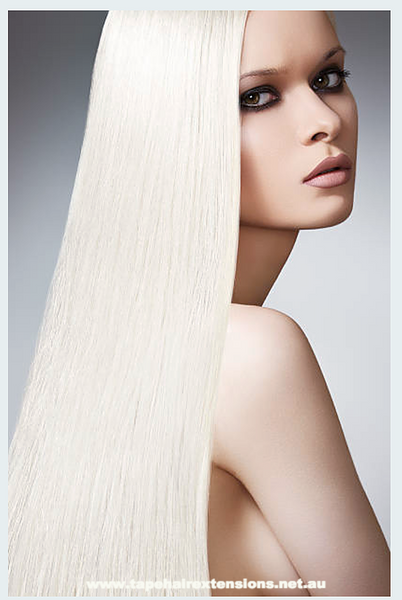 #CREAMY BLONDE TAPE HAIR EXTENSIONS LIGHT CREAM BLONDE - Pure Tape Hair Extensions