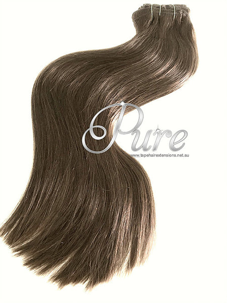 #4 - WARM COCOA BROWN -MED BROWN - CLIP-IN HAIR EXTENSIONS LUXURY RUSSIAN GRADE - Pure Tape Hair Extensions