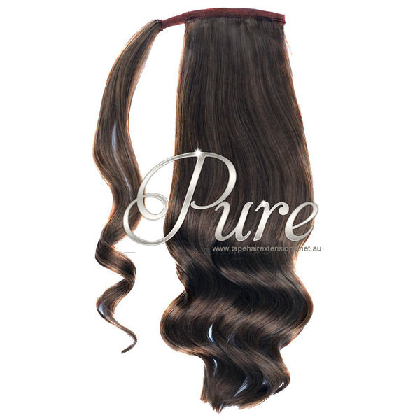 WRAP PONYTAIL HAIR EXTENSION #2 - RICH CHOCOLATE BROWN - DARK BROWN - Pure Tape Hair Extensions