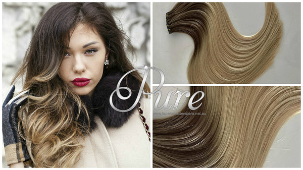 "#2/22/8 ""BEIGE BEAUTY"" DARK BROWN TO WARM BLONDE BALAYAGE / OMBRE TAPE HAIR EXTENSIONS  - Pure Tape Hair Extensions"