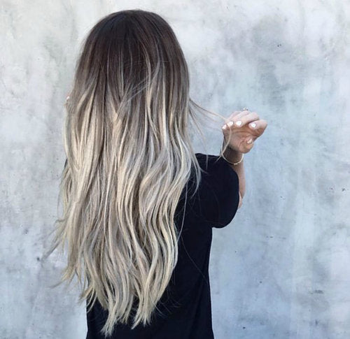 brown to ashy silver balayage tape hair extensions