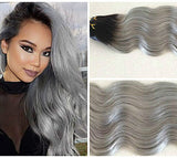 "BLACK TO GREY ""STORMIE"" - ROOT STRETCH - 200 GRAMS WAVEY 10 PCS - CLIP-IN - Pure Tape Hair Extensions"