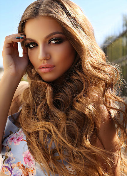"#12 ""SALTED CARAMEL""  CARAMEL BLONDE WEFT / WEAVE HAIR EXTENSIONS - Pure Tape Hair Extensions"
