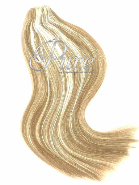 #12/613 CARAMEL HIGHLIGHTED CLIP IN HAIR EXTENSIONS 150 GRAMS