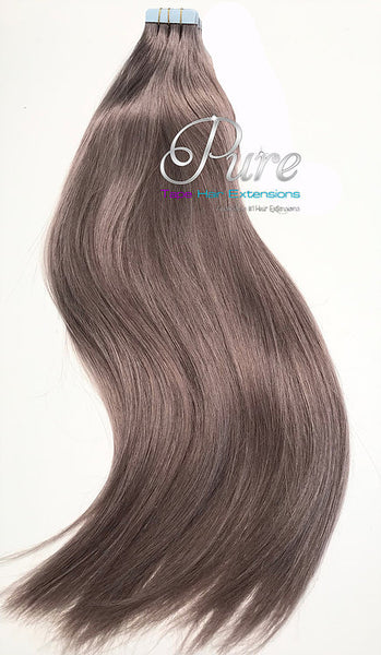 #19 SMOKY LIGHT MEDIUM BROWN - TAPE HAIR EXTENSIONS - LUXURY - Pure Tape Hair Extensions