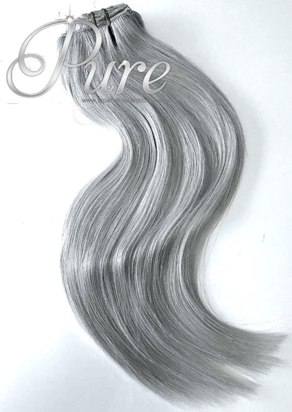 #SILVER 200 GRAM- METALLIC SILVER CLIP-IN - LUXURY VIRGIN HAIR - Pure Tape Hair Extensions