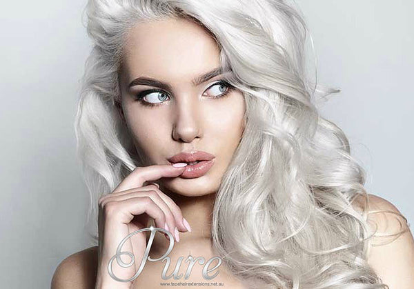 FLIP IN HALO HAIR EXTENSIONS # ICY BLONDE - ICY WHITE BLONDE - Pure Tape Hair Extensions