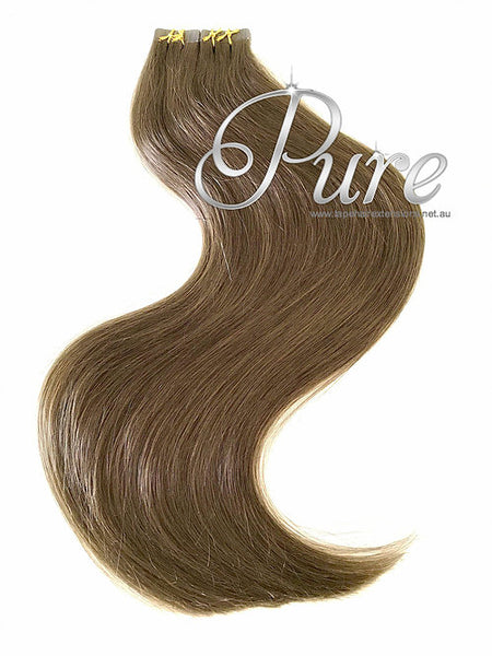 #8 - LIGHT CHESTNUT BROWN HAIR - TAPE-IN SEAMLESS HAIR EXTENSIONS - LUXURY RUSSIAN GRADE - Pure Tape Hair Extensions