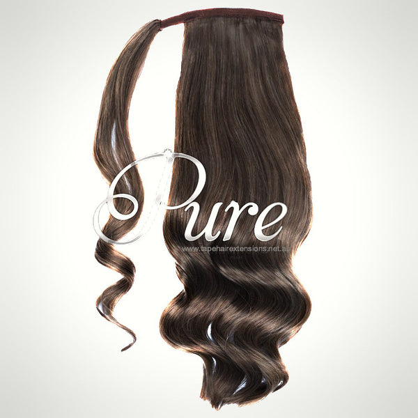 WRAP PONYTAIL HAIR EXTENSION #4 - WARM COCOA BROWN - MEDIUM BROWN - Pure Tape Hair Extensions