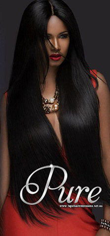 WRAP PONYTAIL HAIR EXTENSION #1 - EBONY - JET BLACK - Pure Tape Hair Extensions