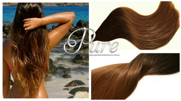 "#1B/6 ""MIDNIGHT"" NATURAL BLACK TO LIGHT BROWN  BALAYAGE / OMBRE LUXURY RUSSIAN GRADE HAIR EXTENSIONS. - Pure Tape Hair Extensions"