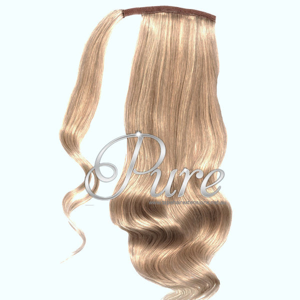 WRAP PONYTAIL HAIR EXTENSION #16 - CARAMEL BLONDE  - WHEAT BLONDE - Pure Tape Hair Extensions