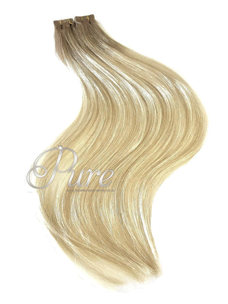 "18/613 Dark Ash Blonde Short Root Fade Balayage / Ombre 22"" Tape Hair Extensions - Pure Tape Hair Extensions"