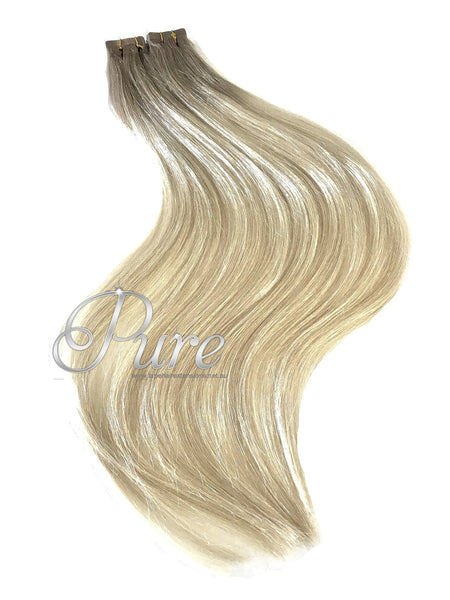 "#18/613 ""RHODEO DRIVE"" DARK ASH BLONDE SHORT ROOT FADE BALAYAGE / OMBRE LUXURY RUSSIAN GRADE HAIR EXTENSIONS - Pure Tape Hair Extensions"