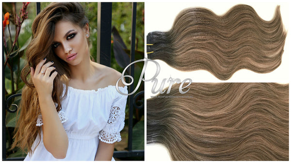 "#1b/6/10 - ULTIMATE CLIP IN / Balayage - Root Shadow/  Rooted /  Short Root Stretch- 200 Grams 22"" - Pure Tape Hair Extensions"