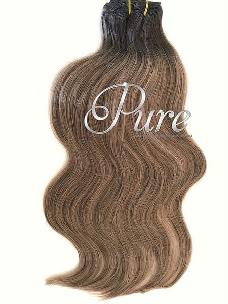#1b/6/10 - ULTIMATE CLIP IN / Short Root Balayage - Root Shadow/  Rooted /  Short Root Stretch- 200 Grams - Pure Tape Hair Extensions