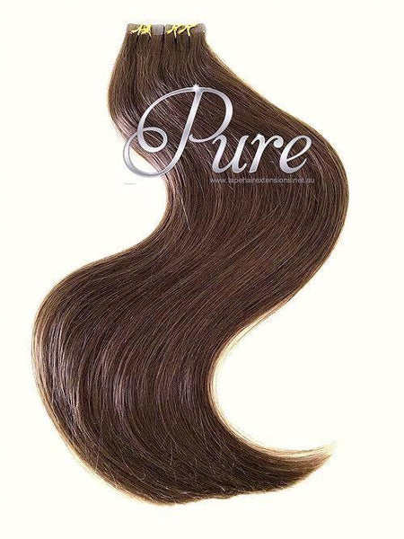 #4 -WARM COCOA BROWN - MEDIUM BROWN -TAPE HAIR EXTENSIONS - LUXURY RUSSIAN GRADE - Pure Tape Hair Extensions