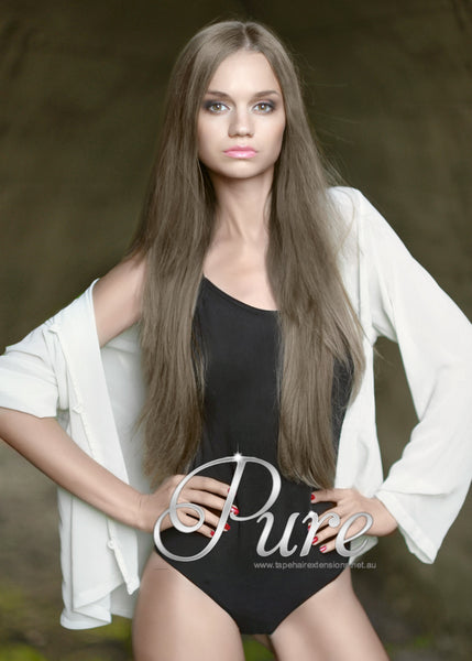 WRAP PONYTAIL HAIR EXTENSION #10 - LIGHT ASH BROWN HAIR - Pure Tape Hair Extensions
