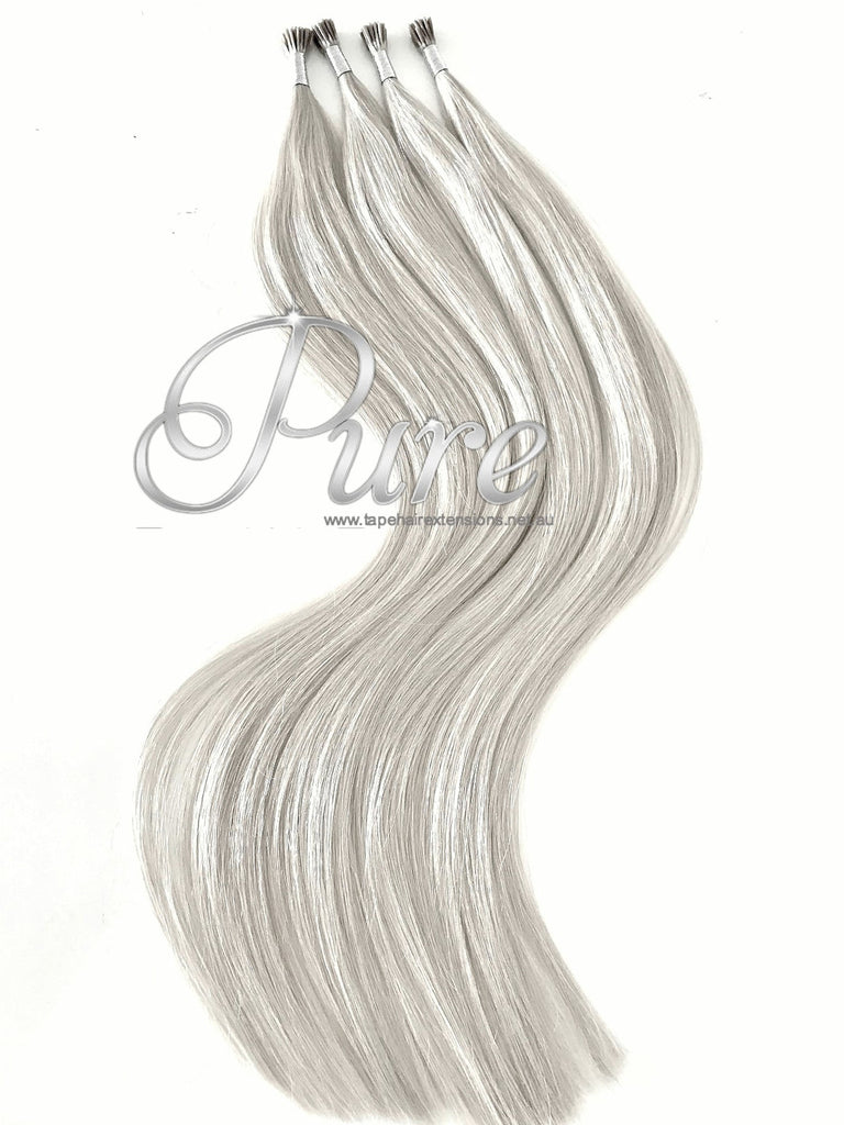 Ice White Blonde Micro Bead Hair Extensions Pure Tape Hair