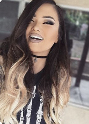 "#1B/22 ""ARUBA"" DARKEST BROWN NATURAL BLACK TO BLONDE WITH HIGHLIGHTS BALAYAGE OMBRE HAIR EXTENSIONS - Pure Tape Hair Extensions"