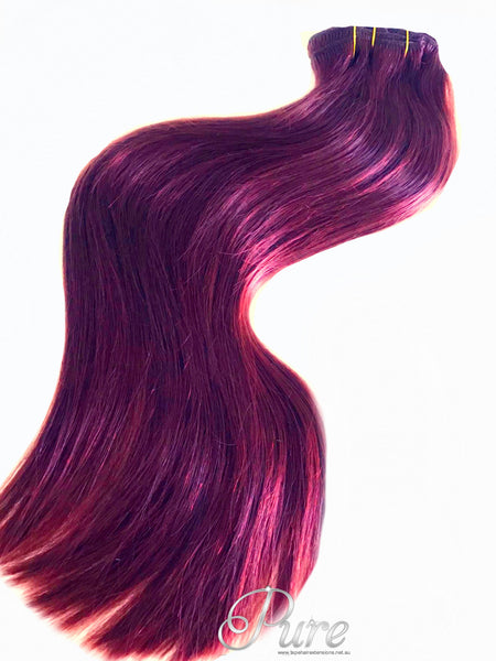 bright burgundy red clip in hair extensions