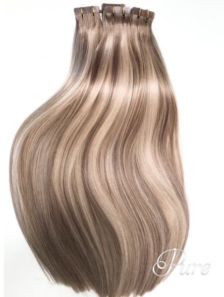 "#10/20/16/10  ""TROPIC SANDS"" LIGHT ASH BROWN ROOTS TO CARAMEL BLONDE FOILS BALAYAGE / OMBRE TAPE HAIR EXTENSIONS - Pure Tape Hair Extensions"