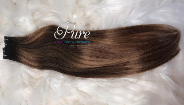 Tape - 2/6/14 - Dark Brown To Caramel Brown Foiled - Short Fade / Root Stretch /Rooted Hair Extensions - Pure Tape Hair Extensions