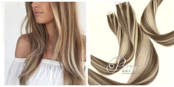 #6/613 - LIGHT BROWN / LIGHT BLONDE - TAPE-IN HAIR EXTENSIONS - LUXURY RUSSIAN GRADE - Pure Tape Hair Extensions