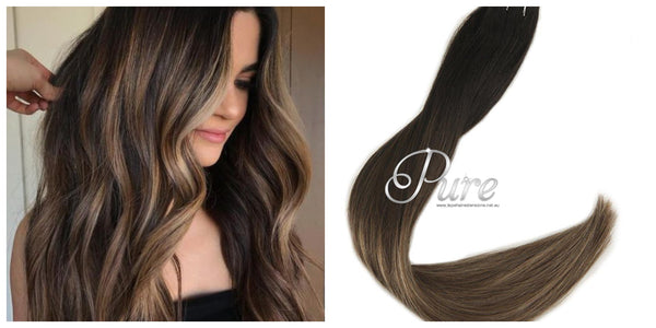 1b/6/10 Darkest Brown Roots To Light Brown Short Root Fade Balayage / Ombre Tape - Pure Tape Hair Extensions