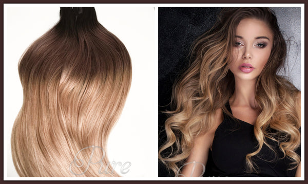 "#2/8/16 ""BRONDE"" MOCHA"" CARAMEL BROWN OMBRE BALAYAGE TAPE HAIR EXTENSIONS - Pure Tape Hair Extensions"