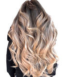 "#2/60/18  ""SAVANNA"" COOL DARK BROWN TO BLONDE OMBRE / BALAYAGE TAPE-IN HAIR EXTENSIONS - Pure Tape Hair Extensions"