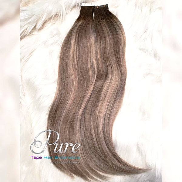 "#2/22/16 ""HAWAII"" DARK BROWN TO MEDIUM BLONDE & CARAMEL BLONDE BALAYAGE OMBRE TAPE HAIR EXTENSIONS - Pure Tape Hair Extensions"